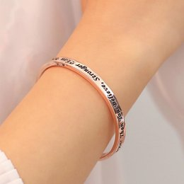 silver bangles words wholesales Australia - C Shape Bangle with Word You are Braver Than You Believe StrongerThan You Seem rose gold silver color plated