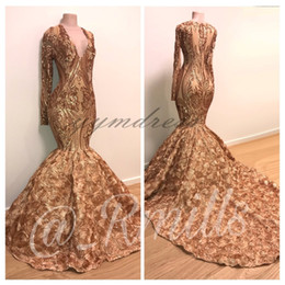 $enCountryForm.capitalKeyWord Australia - Gold Prom Dresses 2019 Sheer Long Sleeves 3D Flowers Appliqued Sequined Lace SweepTrain Black Girls Mermaid Evening Gowns