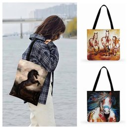 two horse oil painting Australia - Running Horse Modern Oil Painting Art Print Tote Bag For Women Casual Tote Ladies Shoulder Bag Women Beach Shopping