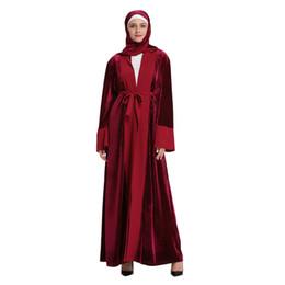 VelVet abaya online shopping - Womens Velvet Open Abaya Muslim Ladies Long Sleeve Print Long Maxi Dress Kaftan sukienka damska plus size M6Y