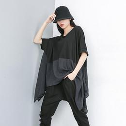 $enCountryForm.capitalKeyWord Australia - New 2019 Korean Style Women Long Black Patchwork Summer Top Oversized T-shirt Long Sides Design Lady Casual Unique Tshirts F308