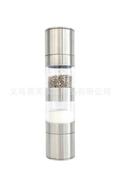 $enCountryForm.capitalKeyWord Australia - Stainless Steel Manual Pepper Mill Stainless Steel Grinder Double Heads 2 In 1 Pepper Grinder Salt Muller