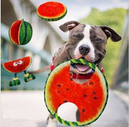 Pet Toys Canvas NZ - Diameter 19cm Canvas Watermelon Designed Dog Toy Pet Chewer Teething Aid Tug Rope