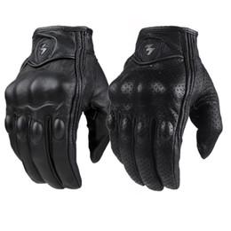 Großhandel Retro Pursuit Perforierte Echtes Leder Motorrad Handschuhe wasserdichte Handschuhe Motorrad-Schutz Gears Motocross-Handschuhe Geschenk Moto