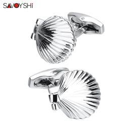$enCountryForm.capitalKeyWord Australia - SAVOYSHI Free Engraving Name Cufflinks for Mens Shirts Cuffs Novelty Silver Clam shell Model Cuff links Male Gift Jewelry Newest