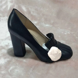 b0f8ff589180 2019authentic cowhide designer high heels in spring and autumn of Sexy Bar  Banquet Wedding Shoes10cm thick heel Ship shoes with metal buckle