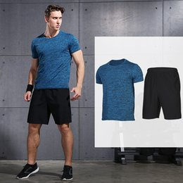 $enCountryForm.capitalKeyWord NZ - Men's Compression Running Suits Quick Dry Shirt+Shorts Sets Summer Football Training Kits 2 pcs Fitness Gym Clothes Sets #212151