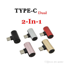 $enCountryForm.capitalKeyWord Australia - 2 in 1 Dual Type-C USB-C Audio Charging Dual Adapter AUX Splitter Charger Earphone AUX Cable Connector Converter Adapter For Android
