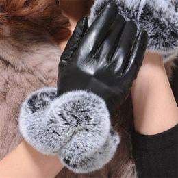Leather Wrist Gloves Australia - Warm Winter Gloves Female Leather Gloves Rabbit Fur Wrist Mittens Women's Warm Gloves Luxury Design Guantes Full Finger Mittens D19011005