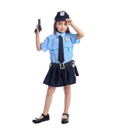 $enCountryForm.capitalKeyWord Australia - Girl Officer Cosplay uniforms cool Halloween costume suits for children, including dresses, ties, hats, belts, toy pistols, handcuffs