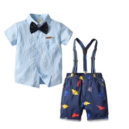 Three Piece Suit Bow Australia - New summer suit gentleman striped bow tie short-sleeved shirt cardigan graffiti denim strap shorts four-piece Shirt and shorts