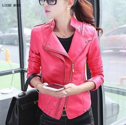 womens faux pu leather jacket 2019 - Womens Faux Leather Motorcycle Biker Jacket and Coat Spring Autumn Punk Style Pu Leather Jacket Women Slim Fit Short Out