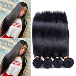 Malaysian Straight Hair Weave Australia - 8A Mink Brazilian Straight Hair Bundles Brazilian Virgin Hair Straight Peruvian Malaysian Indian Human Hair Weave Extensions