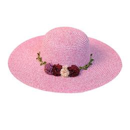 $enCountryForm.capitalKeyWord UK - 2019 New High Quality Fashion Women Big Wide Brim Straw Hat Colorful Flower Beach Sun Foldable Cap Crystal Gift