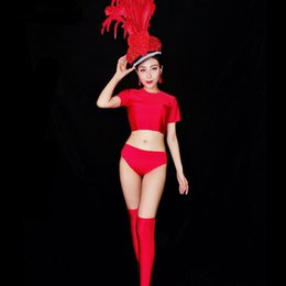 Led Hat Dance Australia - Female Dance Group Jazz Dance Outfit Sexy Red 3 Piece Set Feathers Crystals Big Hat Headgear Clubs Leading Dancer Performance Stage Costume