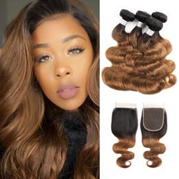 $enCountryForm.capitalKeyWord Australia - Ombre Brown Hair Bundles With Closure Color 1B 30 Brazilian Body Wave Hair 4 Bundles With 4x4 Lace Closure Remy Human Hair Extensions