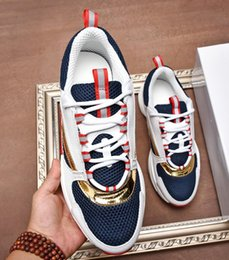 Discount france ships - France Luxury Genuine Leather Breathable sport men shoes Lace Up Casual Shoes Mesh Fashion Trend Platforms mens Thick bo