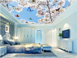 $enCountryForm.capitalKeyWord Australia - WDBH 3d ceiling mural wallpaper custom photo Cherry blossom blue sky butterfly living room Home decor 3d wall murals wallpaper for wall 3d