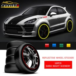 Reflective Stickers Wheel Australia - 2018 VVVIST Reflective Car Stickers Car Styling And Decals for 17in Wheel Rim 16 Pcs Strips Wheel Stickers 4 Colors Styling