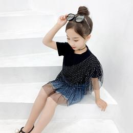 Опт Девушки с короткими рукавами футболки с иностранным газом корейской версии летнего платья 2019 года новые девушки мода сетка пряжа сращивания личности пальто детей
