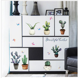 Bedroom wall caBinet design online shopping - Cactus potted sticker cabinet windowsill living room decoration porch bedroom TV background wall decoration wall sticker