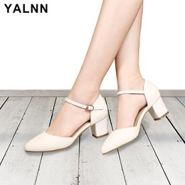 $enCountryForm.capitalKeyWord Australia - Yalnn Leather Women Sandals Sumer 2019 High Heels Shoes Ankle Strap Heels Party Dress Sandals Cover Heels Shoes Big Size 34-43 Y19070503