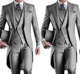white tailcoat style groom tuxedos NZ - New Slim Fit Morning Style Groom Tuxedos Lapel Men's Suit Navy Blue Groomsman Best Man Wedding Prom Suits(Jacket+Pants+Vest) HY6019