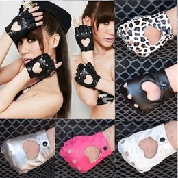 Pink Leather Gloves Australia - Women Punk Leather Driving Biker Fingerless Mittens Dance Motorcycle Gloves