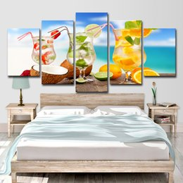 tropical paintings NZ - HD Printed 5 Piece Canvas Art Fruit Cold Drink Painting Tropical Seascape Wall Pictures for Living Room Free shipping