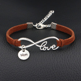 indian mens leather bracelets Australia - New Design Fashion Infinity Love Mom Round Pendant Bracelets Dark Brown Leather Suede Velvet Rope Jewelry For Womens Mens Hot Sale Best Gift