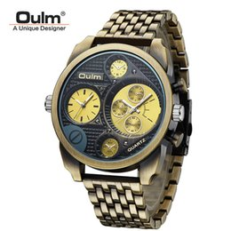 oulm men military watches Australia - wristwatch mens Luxury 9316 Stainless steel Oulm Watch Men Big dial Watch white case Quartz Relojes Sports Fashion Male Military Wristwatch