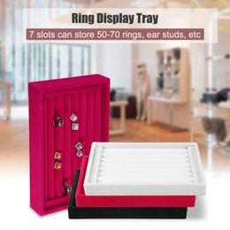 Rings Showcase Australia - Portable Velvet Jewelry Ring Earring Insert Display Cufflinks Organizer Box Wooden Flat Stackable Tray Holder Storage Showcase