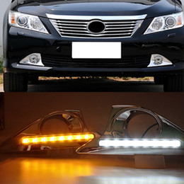 toyota camry lights Australia - 1 Set 12V Car LED DRL Daytime Running Light For Toyota Camry 2012 2013 2014 With Chromed Cover Dimming Style Relay Waterproof