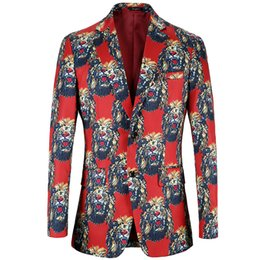 $enCountryForm.capitalKeyWord Australia - Blazer Men 2018 Brand Clothing Shawl Collar Casual Suit Jacket Stage Costumes printing lion design Mens Casual Blazers