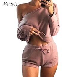 full sexy yoga Australia - Vertvie New Women Yoga Set Fitness Gym Women Tracksuit Pink Sexy Full Sleeve Hoodie Drawstring Shorts Sweat Hip Hop Crop Top Set