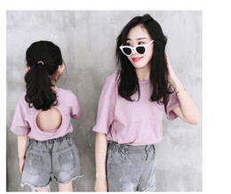 xl girls clothes 2019 - Mommy and daughter matching outfits girls backless round shape hollow T-shirt kids cotton short sleeve casual tops baby