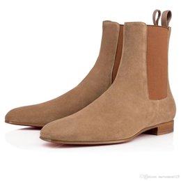 Elegante Fashion Designer homens de negócios preta de couro botas de Cavaleiro Top Botas parte inferior vermelha alto, Marca Plano Tornozelo Botas Casual Shoes em Promoção