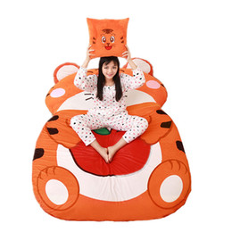 $enCountryForm.capitalKeyWord UK - Dorimytrader Kawaii Animal Tiger Sleeping Bag Soft Plush Beanbag Bed Tatami Soft Carpet Mattress for Kids Gift Decoration DY60845
