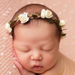 white flower girl wreaths 2020 - Free shipping 2017 NEW wreath children roses with hair accessories baby present wedding flower girls Headbands cheap whi