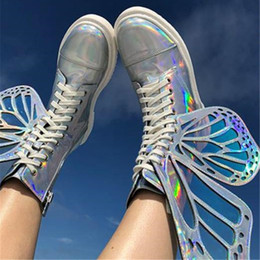 Shining Patent Leather Shoes Australia - MStacchi Women Shine Silver Short Boots 2019 Butterfly Wings Sneakers Ladies Lace Up Colorful Shoes Woman Bling T-Show High Shoe as131