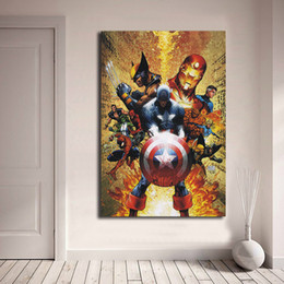 Figure Paintings America Australia - Civil War Marvel Movie Captain America DC Art Canvas Anime Modern Poster Painting Wall Picture Print Home For Living Room Bedroom Decoration
