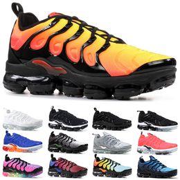 ShoeS uSa free Shipping online shopping - TN Plus Men Women Running Shoes Triple Black White Sunset Work Blue Game Royal Volt USA Cheap Designer Trainer Sport Sneaker