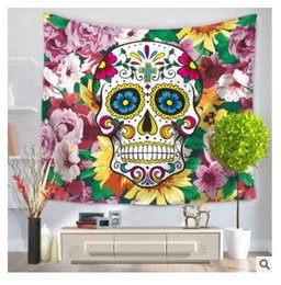 Discount wholesale towels free shipping - Flamingo Tapestry 3D Skull Wall Hanging Home Decoration Tapestry Bohemian Beach Towel Table Cloth Blanket 150*130cm Free