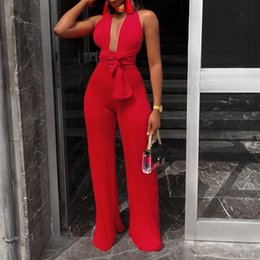 bandage jumpsuits Australia - New Arrival Fashion Women Clothing Sexy V Neck Multi-way Jumpsuits Female Lace Up Bandage Sleeveless Wide Leg Autumn Playsuits Y19051601