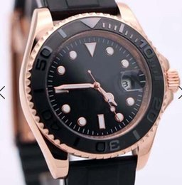 China 40MM Black Dial Date Mens Watch Watches Automatic Movement Rose Gold Case and Hands With Black Rubber Band Rotating Bezel Dot Hour Markers cheap marker cases suppliers