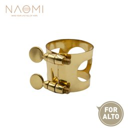 Discount ligature alto sax NAOMI Alto Sax Mouthpiece Ligature Metal Ligature For Alto Saxophone Mouthpiece With Double Screws Gold Color New