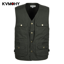 $enCountryForm.capitalKeyWord Australia - Men Vest Multi Pocket Vests for Men New Fashion Male Sleeveless Jacket Body Photographer Baggy Cargo Waistcoat