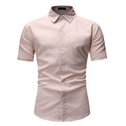 d2a22362204 Camisas a rayas de manga corta para hombre Camisas de verano Slim Fit  Vestido de oficina Camisas Casual Tops Caqui Azul Gris Tallas grandes M-3XL