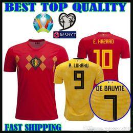 ecb4a2ad9a2 European Cup 2019 belgium Soccer Jerseys home away 19 20 E.HAZARD R. LUKAKU  DE BRUYNE KOMPANY FELLAINI Football shirtS top thailand quality
