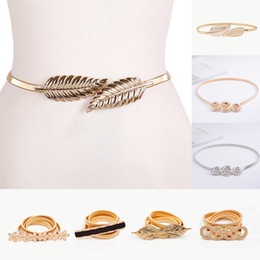 wide brown elastic belt Australia - Flower Leaf Shape Wedding Designer Elastic Belts Women Girl Stretch Skinny Waist Cummerbunds Metal Female Belt C19041501